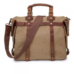 Tote Bag High Quality Vintage Fashion Casual Canvas Crazy Horse Leather Men Travel Handbag Khaki one size