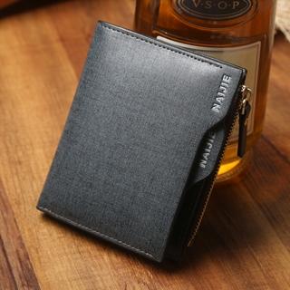 Men's Leather Wallet short vertical zipper wallet purse multifunctional business students Blue One Size
