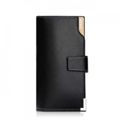 Men's Long Wallet business casual leather multi card hand bag youth Wallet Black One Size