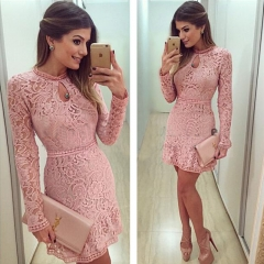 Fashion Round Neck Long Sleeve Lace Hollow Tying Waist Dress Pink S