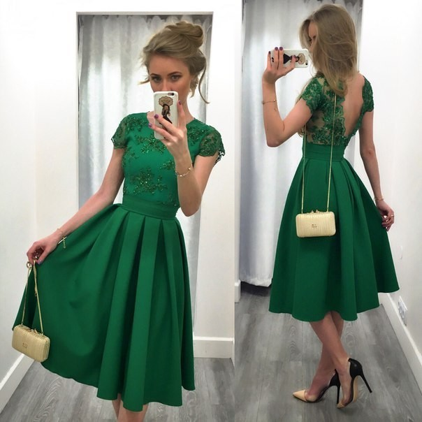 New elegance lace Hollow waist backless sexy dress Green S