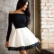 Lady wrapped chest sexy Strapless Lace Dress Black and White M