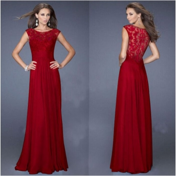 Fashion Casual Chiffon Short Sleeve Lace Back zipper Perspective sexy Maxi Dress Red M