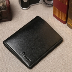 Man short purse leather PU wallet  vertical youth leisure business models wallet Black One Size