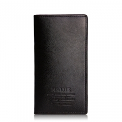 Men's Long Wallet personalized fashion leather wallet leisure quality PU wallet Black One Size