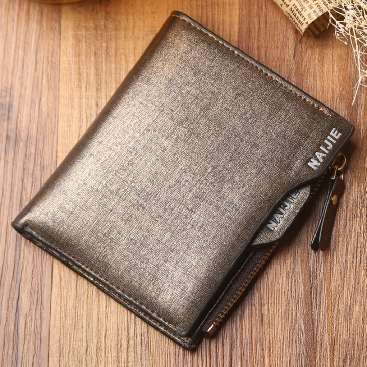 Men's Leather Wallet short vertical zipper wallet purse multifunctional business students Gold One Size