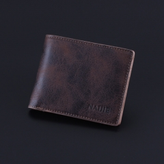 Vintage men short wallet cross section simple personality of young students and soft leather wallet Dark brown One Size