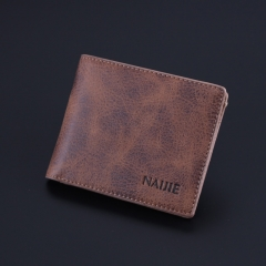 Vintage men short wallet cross section simple personality of young students and soft leather wallet Light brown One Size