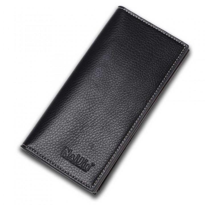 Men Long Wallet many Card Wallet genuine fashion business male Thin Wallet Black One Size