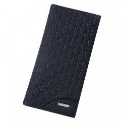 New men long leather wallet more card wallet  thin young men wallet Black One Size