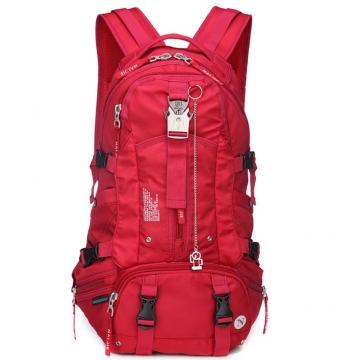 Large capacity and multi function mountaineering bag waterproof and abrasion resistant backpack Red One size
