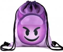 Ladies Emoji Backpack 2017 New Fashion Women Backpacks 3D Printing Bags Drawstring Bag For Men 6 one size