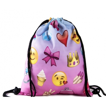 Ladies Emoji Backpack 2017 New Fashion Women Backpacks 3D Printing Bags Drawstring Bag For Men 11 one size