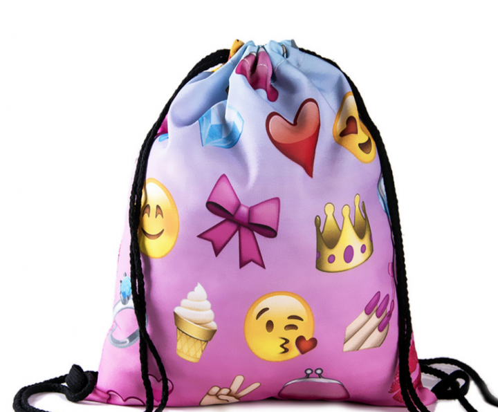 Ladies Emoji Backpack New Fashion Women Backpacks 3D Printing Bags Drawstring Bag For Men 11 one size