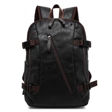 PU Patent Leather Backpacks Men's Fashion Backpack & Travel Bags Western College Style Bags black and brown one size