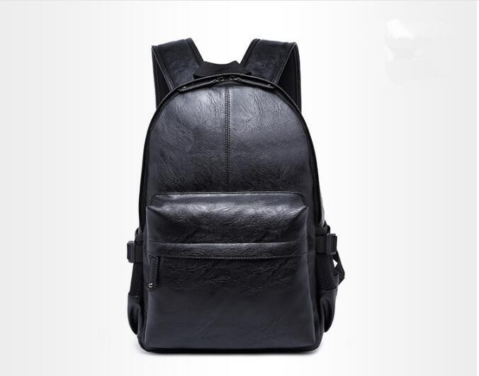 Korean Style Men Backpack Top Quality Leather Double Shoulder Bags School  Bag Book Rucksack men black 2fb0e8b1f0a4d