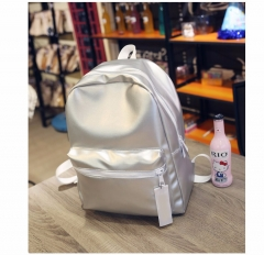 Women Silver Backpack Glossy Backpacks For Teenage   PU Leather Bag Students School Rucksack sliver one size