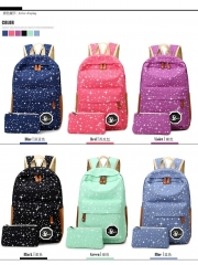 2017 Canvas Women backpack Big Capacity School Bags For Teenagers Printing Backpack For Girls blue one size