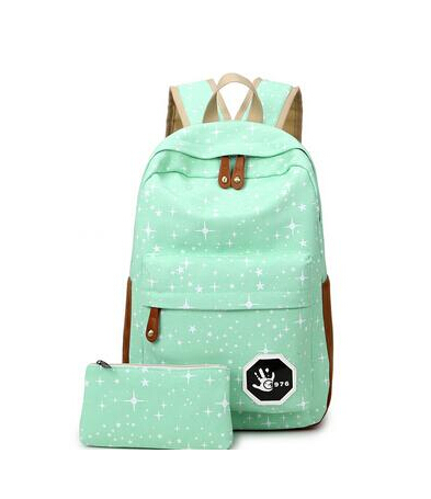 Canvas Women backpack Big Capacity School Bags For Teenagers Printing Backpack For Girls green one size