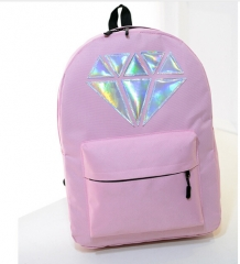 2017 new fashion 5 candy colour canvas laser diamond  backpack   preppy style schoolbag shoulder bag black one size