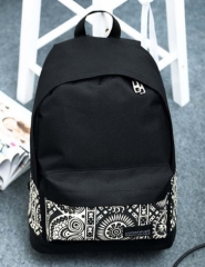 Newest Fashion1PC Women Girls Unisex Mens Canvas Double Root Rucksack Backpack School  Shoulder Bag black one size