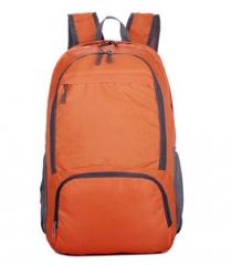 Nylon Folding Backpack  Waterproof Rucksack Casual Travel Bag Student School bag Shoulder Bag orange one size