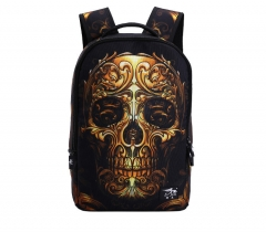 vintage canvas 3D Cartoon printing backpack men punk rock women backpacks Skull Backpack school bags gold one size