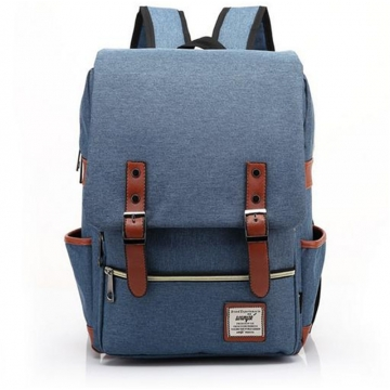 Fashion Men Daily Canvas Backpacks for Laptop Large Capacity Computer Bag Casual  School Bagpacks purplish blue one size