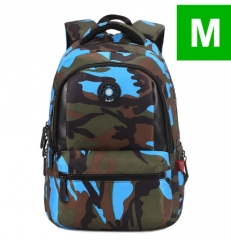 3 Sizes Camouflage Waterproof Nylon School Bags for Girls Boys Orthopedic Children Backpack Kids Bag blue M one size