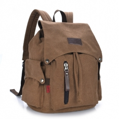 Fashion Men Daily Canvas Backpacks for Laptop Large Capacity Computer Student School backpacks Brown one size