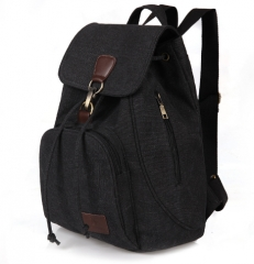 2017 New Vintage woman Canvas Backpack Unisex Fashion Lock and String Backpack Travel  for Teenagers black one size
