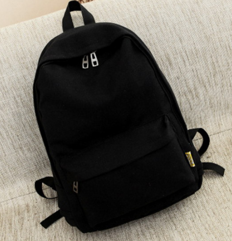 Small Canvas Backpack For Women Men Student Back to School bag For Teenager Boy Girl Children black one size