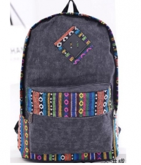 new female bolsas women ethnic brief canvas backpack preppy style girl school Travel laptop bag deep gray one size