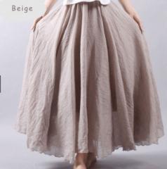 Linen Double Layer Elastic Waist Maxi Skirt (9 Colors) Beige free size