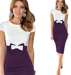 Elegant Bowknot Colorblock Pencil Dress Purple s