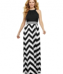 Fashion Womens Sleeveless High Waist Wavy Stripe Maxi Dress s black
