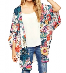 Women Chiffon Boho Floral Print Kimono Cover Up Beach Wear picture s
