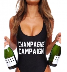Sexy CHAMPAGNE CAMPAIGN Letter Print One-Piece Swimsuit black s