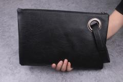 New Fashion Women PU Leather Clutch Envelope Bag black one size