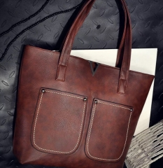 Women handbags ladies simple bags laptop shoulder tote bag Deep Brown one size