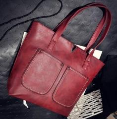 Women handbags ladies simple bags laptop shoulder tote bag Wine Red one size