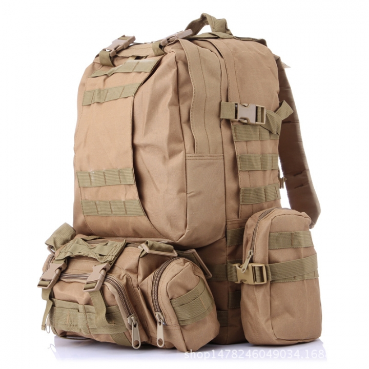 Rucksack Tactical Outdoor Mountain Backpack Molle Tactical Bag Hiking Camping Camouflage Bags khaki one size
