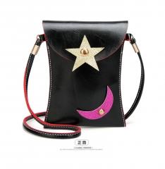 Ladie's Mini Handbag Sling Bag Coin Purse Pure color PU Leather Bag black one size
