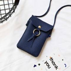 Ladie's Mini Handbag Sling Bag Coin Purse Pure color PU Leather Bag blue one size