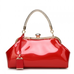 Ladie's High Capacity Handbag Sling Bag Elegant Glossy Brick PU Leather Bag red one size