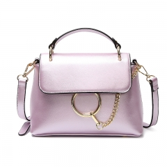 Ladie's High Capacity Handbag Sling Bag Elegant Pure Color PU Leather Bag purple one size
