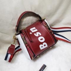 Ladie's High Capacity Handbag Sling Bag Elegant PU Leather Bag red one size
