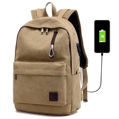 USB Charging Backpack Men's Casual Canvas Travel Trend Fashion Backpack High College Student Bag khaki one size