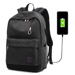 USB Charging Backpack Men's Casual Canvas Travel Trend Fashion Backpack High College Student Bag black one size