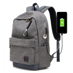 USB Charging Backpack Men's Casual Canvas Travel Trend Fashion Backpack High College Student Bag grey one size